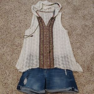 ADORABLE FREE PEOPLE HOODED BEACH TOP